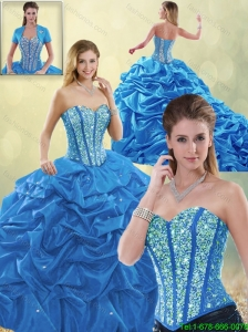Luxurious Beading Blue Quinceanera Gowns with Sweetheart