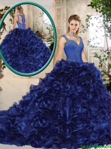 Perfect Straps Brush Train Quinceanera Gowns in Royal Blue