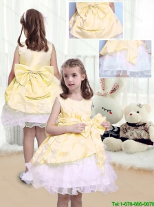 2015 Fall Perfect A Line Scoop Sashes and Bowknot Flower Girl Dresses