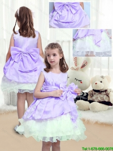 2015 Fall Lovely A Line Scoop Mini Length Flower Girl Dresses with Bowknot