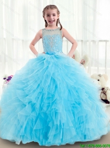 2015 winter Beautiful Ruffles and Beading Little Girl Pageant Dresses with Bateau