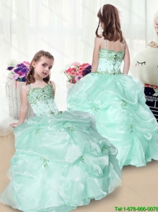 Elegant Beading and Appliques Little Girl Pageant Dresses in Apple Green for 2016