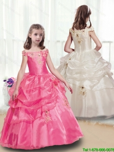 New Style Off the Shoulder Flower Girl Dresses  with Appliques for 2016
