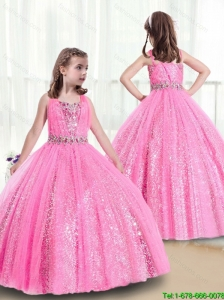 Perfect Rose Pink StrapsLittle Girl Pageant Dresses with Sequins for 2016