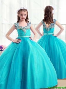 Perfect Zipper Up  Little Girl Pageant Dresses with Beading for 2016