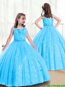 2015 Fall Luxurious Straps New Style Little Girl Pageant Dresses with Side Zipper