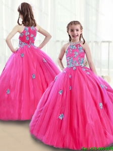 2015 Winter Classical High Neck Beading New Style Little Girl Pageant Dresses  with Appliques
