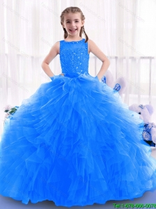 2016 Fashionable Blue New Style Little Girl Pageant Dresses with Ruffles and Beading