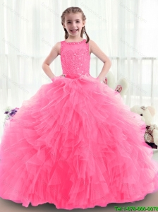 2016 Latest Bateau New Style Little Girl Pageant Dresses  with Ruffles and Beading