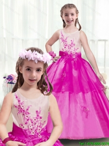 2016 Latest Scoop Appliques New Style Little Girl Pageant Dresses in Multi Color