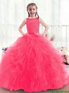 2016 Modern Bateau Beading Mini Quinceanera Dresses in Coral Red