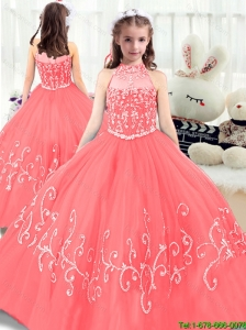 2016 Perfect Beading High Neck New Style Little Girl Pageant Dresses