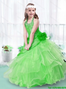 2016 Perfect Halter Top Little Girl Pageant Dresses with Hand Made Flowers