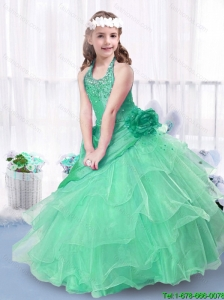 Luxurious Ball Gown Halter Top Little Girl Pageant Dresses for 2016