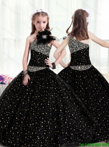 Popular One Shoulder New Style Little Girl Pageant Dresses with Pattern and Beading for 2016