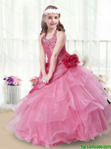 2016 Elegant Halter Top New Style Little Girl Pageant Dresses with Beading and Ruffles