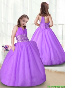 2016 Fashionable Halter Top  New Style Little Girl Pageant Dresses with Beading