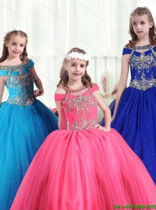 2016 Gorgeous Off the Shoulder New Style Little Girl Pageant Dresses with Beading