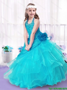 2016 Modest Halter Top New Style Little Girl Pageant Dresses with Ball Gown