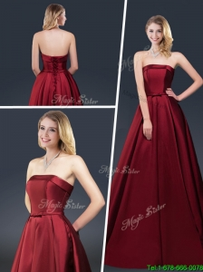 2015 Winter Gorgeous A Line Strapless Prom Dresses with Brush Train