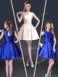 2016 Beautiful Short Bateau Prom Dresses with Bowknot and Beading