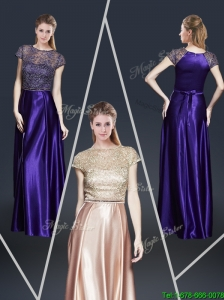 2016 Empire Bateau Prom Dresses with Appliques and Belt
