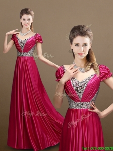 2016 Pretty Empire V Neck Beading Prom Dresses with Short Sleeves