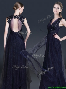 2016 Fashionable V Neck Paillette Modest Prom Dresses in Navy Blue