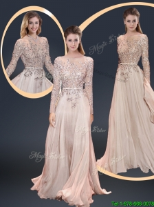 Cheap Brush Train Champagne Modest Prom Dresses with Beading