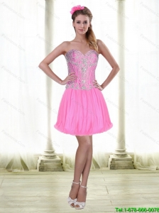 2015 Elegant Short Sweetheart Prom Dresses with Beading in Rose Pink