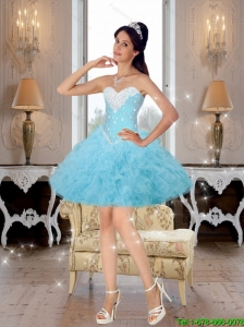 2015 Pretty Beaded and Ruffles Prom Dresses in Baby Blue