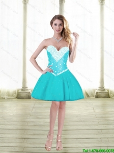 Cute Ball Gown Sweetheart Prom Dresses with Beading in Aqua Blue