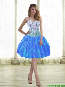 Discount Ball Gown Prom Dresses with Beading and Ruffles for 2015
