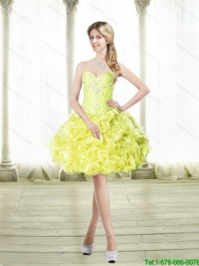 Discount Mini Length Prom Dresses with Beading and Rolling Flowers 140.62