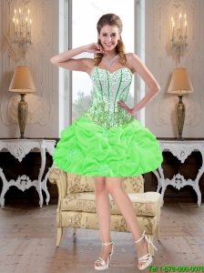 Exquisite Mini Length Beaded and Pick Ups Prom Dresses in Spring Green