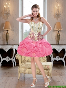 Luxurious Mini Length Beaded Rose Pink Prom Dresses with Pick Ups
