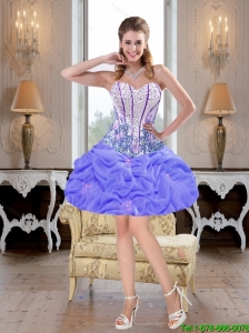 Modest 2016 Mini Length Beaded Lavender Prom Dresses with Pick Ups