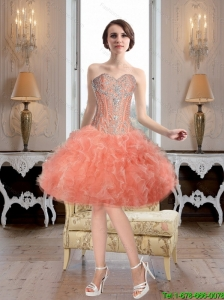 Modest Ball Gown Watermelon Prom Dresses with Beading and Ruffles