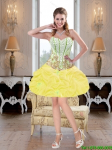 Modest Beaded Prom Dresses with Pick Ups in Yellow for Cocktail