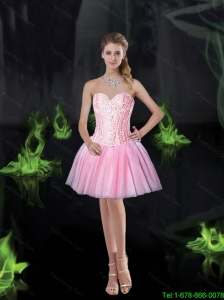Pretty Sweetheart Pink Prom Dresses with Beading for 2015