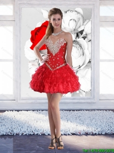 Red Short Sweetheart Elegant Prom Dresses with Beading for 2015