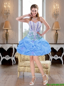 Romantic Mini Length Beaded Baby Blue Prom Dresses for Cocktail