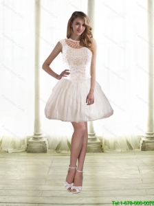 Simple Princess Prom Dresses with Beading in White for 2015