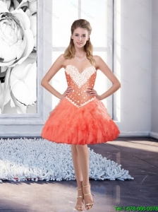 Smart Watermelon Prom Dresses with Beading and Ruffles for Cocktail