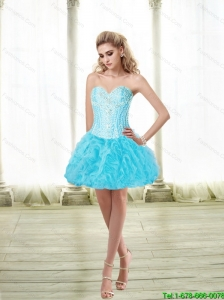 Suitable Sweetheart Ball Gown and Beaded Prom Dress in Baby Blue