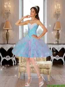 2016 Affordable Ball Gown Prom Dresses with Beading and Ruffles