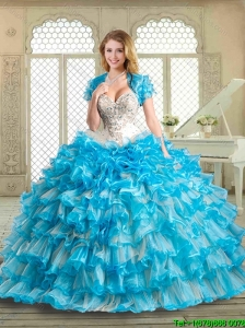 2016 Gorgeous Sweetheart Beading and Ruffled Layers Quinceanera Gowns