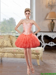 Beautiful Short Sweetheart Coral Red Prom Dresses with Beading
