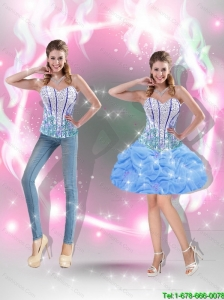 Dynamic Mini Length Beaded Baby Blue 2015 Detachable Prom Dresses for Cocktail