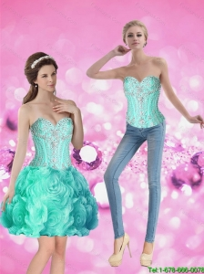 Feminine Ball Gown Detachable Prom Dress with Beading and Rolling Flowers